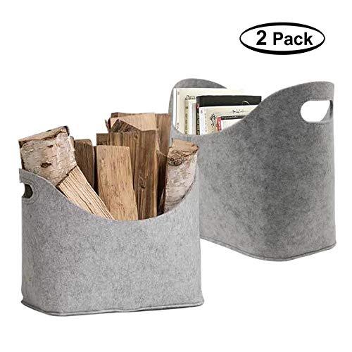 LIMEIDE Large Firewood Basket Storage Felt Bag Shopping Basket Grey Magazine Rack Basket Nursery Storage Bin with Handle for Carry Wood Toys Newspaper Gray 2Pcs