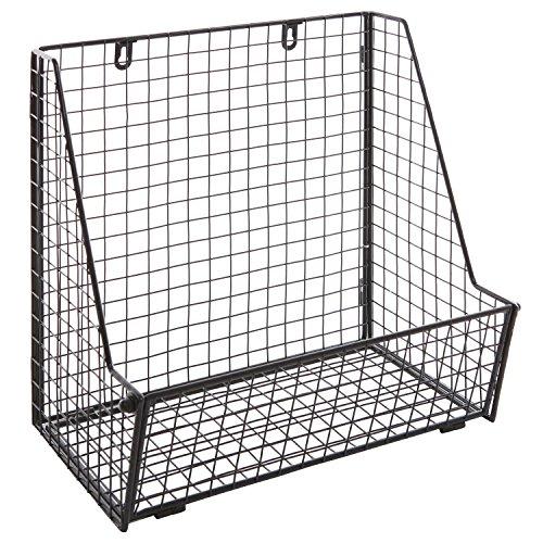 Modern Black Metal Wire Wall Mounted Hanging Towel BasketFreestanding MagazineFile Organizer Rack