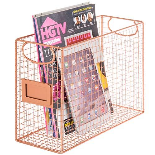 MyGift Copper-Tone Metal Mesh File Folder Magazine Baskets