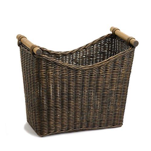 The Basket Lady Narrow Wicker Magazine Basket Large 14 in L x 75 in W x 12 in H Antique Walnut Brown