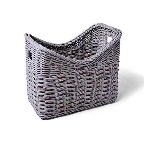 The Basket Lady Ombak Weave Narrow Magazine Basket 14 in L x 85 in W x 12 in H Batu Grey