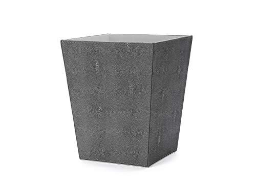 WV Faux Leather Trash Can Waster Paper Bin Wastebasket Magazine Holder Faux Shagreen Finish for BathroomKitchenHome OfficeDark Grey