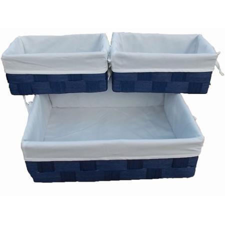 Baum Lined Storage Baskets Set of 6 Blue