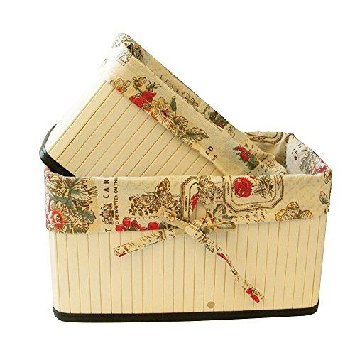Saumota Foldable Bamboo Home Decorative Storage Baskets Shelves Dresser Organizer Storage Box With Lined-ButterflyMedium
