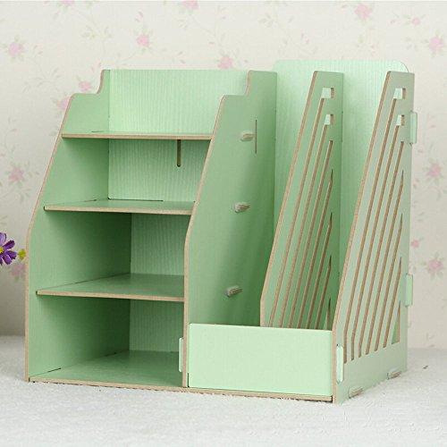 HooshionWooden Board Desktop Organizer Detachable Shelf Storage Boxes 2 Paper Files Holder Magazine Slots and 4 Compartments Bins- DIY Green