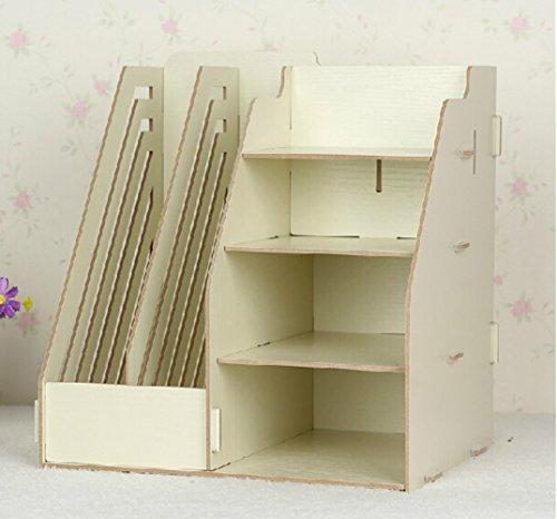 Multifunctional Wooden Creative Home Office File Shelf Storage Box Cream
