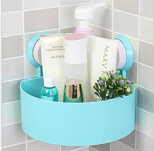 Sucker home bathroom shower triangular shelf storage box shampoo shower gel kitchen supplies Blue