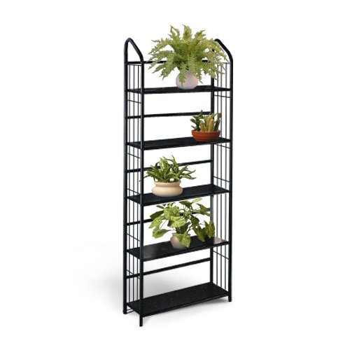 Black Metal Outdoor Patio Plant Stand 5 Tier Shelf Unit 5-TIER SHELVES