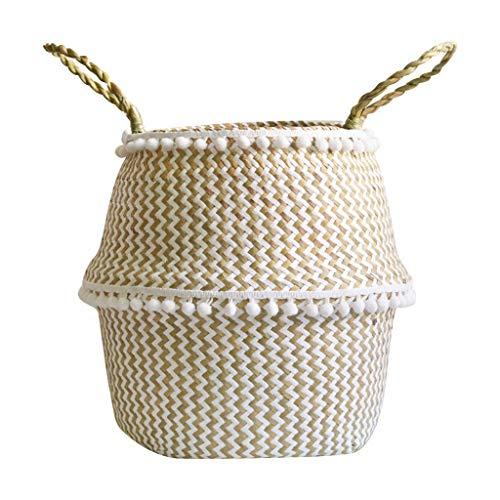 ❤SU&YU❤Seagrass Wicker Basket Flower Pot Folding Basket Dirty Basket Storage Decoration A 22×20cm White