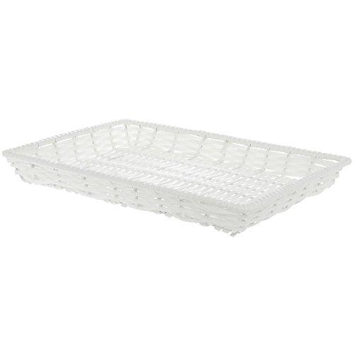 White Wicker Basket Rectangular Plastic - 13L x 18W x 2H