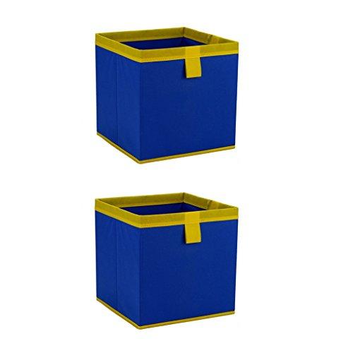 Fvstar 2pcs Foldable Fabric Cube Storage Bins Basket Bin for Organizing Kids Toys Baby Clothing Laundry Blue