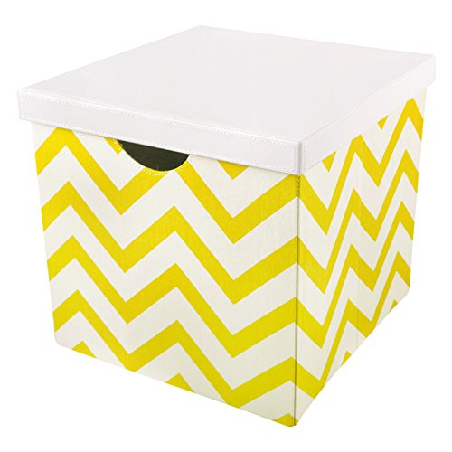 Vox Square Clothing Non Woven Fabric Foldable Storage Box Cube Bins Organizer Containers Drawers with Lids and Handles Yellow