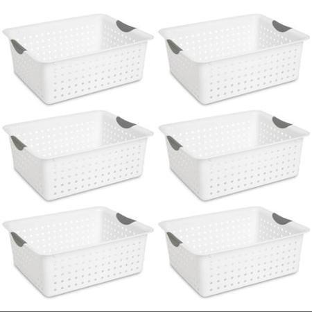 6 Sterilite 16268006 Large Ultra Plastic Storage Bin Organizer Baskets - White