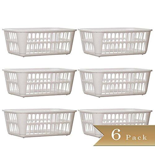 Set of 6 - TrueCraftware Medium White Storage Baskets - 11-14 L x 8 W x 4-14 H