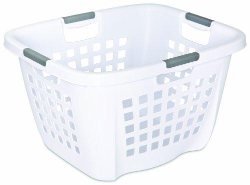 Sterilite 12018006 21 Bushel74 Liter Ultra Laundry Basket White Basket w Titanium Inserts 6-Pack