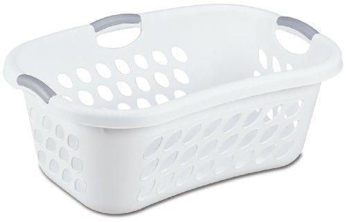 Sterilite 12108006 125 Bushel44 Liter Ultra Hip Hold Laundry Basket White Basket w Titanium Inserts 6-Pack