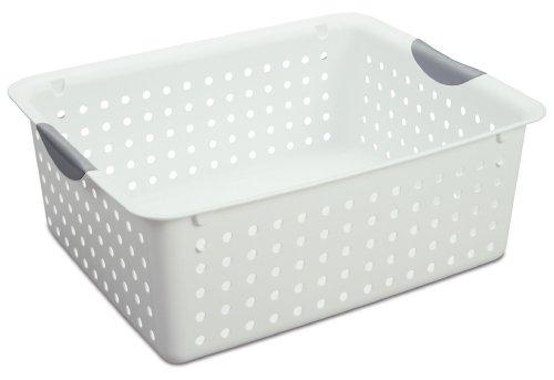 Sterilite 16268006 Large Ultra Basket White Basket w Titanium Inserts 6-Pack