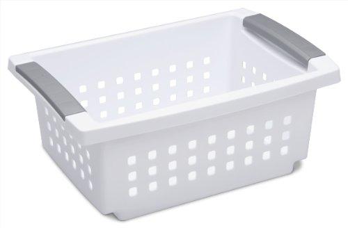 Sterilite 16608006 Small Stacking Basket White Basket w Titanium Accents 6-Pack