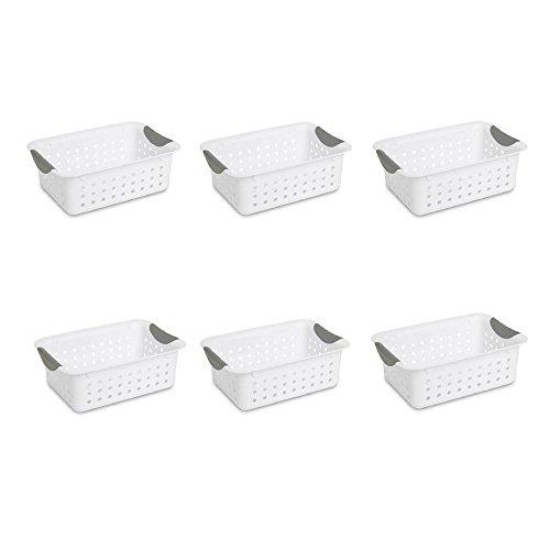 Sterilite Small Ultra Basket White Basket w Titanium Inserts Pack of 6