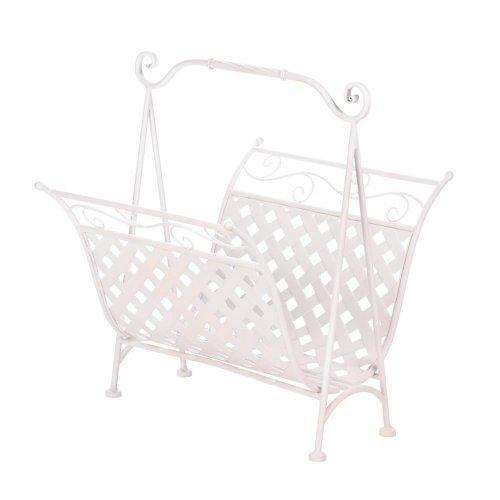 White Basket Weave Magazine Rack