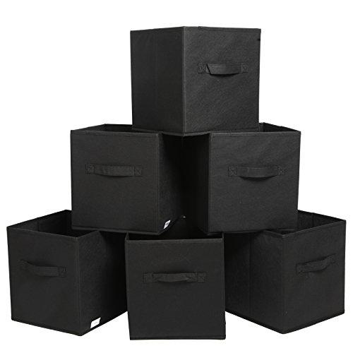 Finnhomy Foldable Storage Cube Fabric Basket Bins Cloth Folding Box Closet Drawers Container Dresser Basket Organizer Shelf Collapsible for Underwear Sock Bra Tight Kids Toy Set of 6 Black