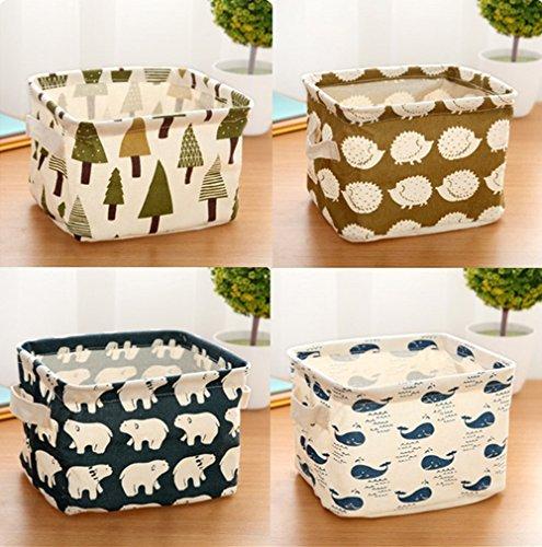 Julvie Mini Square Linen Cotton Fabric Storage Bins Storage Baskets Organizers for Shelves Desks - Set of 4