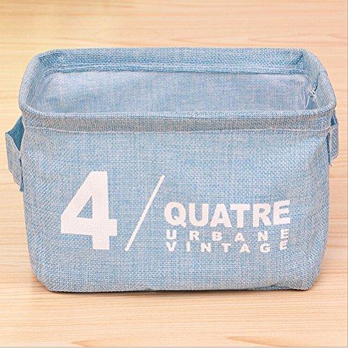 WINOMO Foldable Natural Linen Cotton Fabric Storage Bins Storage Baskets Organizers for Shelves Desks Sky Blue