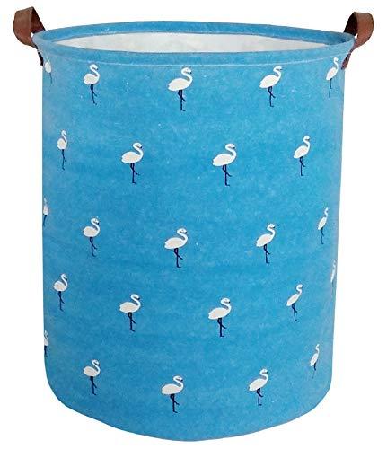 BOOHIT Storage BasketsCanvas Fabric Laundry Hamper-Collapsible Storage Bin with HandlesToy Organizer Bin for Kids RoomOfficeNursery Hamper Home Decor White Flamingos