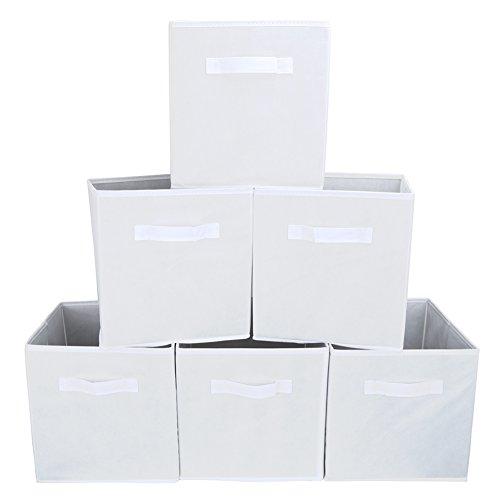 EZOWare Set of 6 Foldable Fabric Basket Bin Collapsible Storage Cube for Nursery Toys Organizer Shelf Cabinet White
