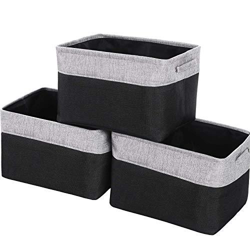 Large Storage Bins for Shelves 15 L x 11 W x 945 H Inches Fabric Closet Storage Baskets Organizer Set of 3 Black