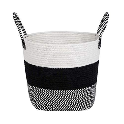 NINIPANDA&LEE Black and White Cotton Rope Basket -Storage Bins for Clothes- Decorative Woven Blanket Basket-Toy Storage Bins- Laundry Basket-Fabric Bins-Cloth Bin