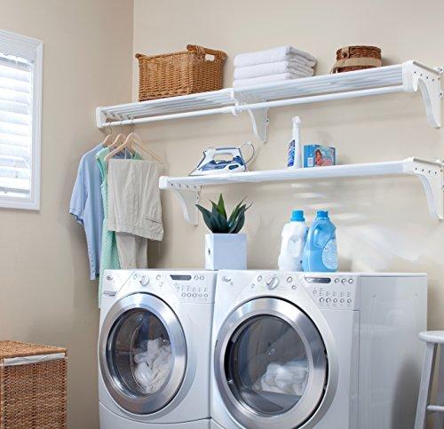EZ Shelf - Expandable Laundry Room Organizer up to 126 ft of Laundry Room Storage and 63 ft of Laundry Room Shelveswith Hanging Rod White