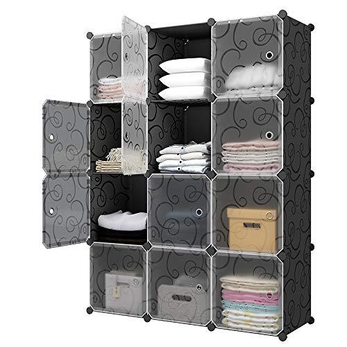 KOUSI Portable Storage Cube - 14x14 Cube 12 Cubes Cube Organizer Cube Storage Shelves Cube Shelf Room Organizer Clothes Storage Cubby Shelving Bookshelf Toy Organizer Cabinet Black 12 Cubes