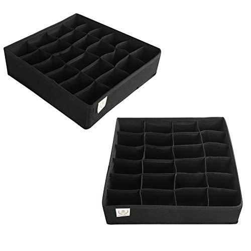 Zonyon Drawer Divider Foldable Fabric Closet OrganizerDresser OrganizerStorage BoxRoom Organization for UnderwareTiesBeltsSocksTank Tops LingerieClosetWardrobe2 Sets Black