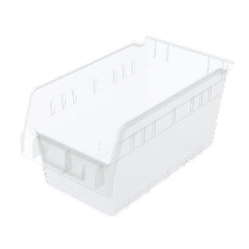 Akro-Mils 30090 12-Inch L by 6-Inch W by 6-Inch H Clear ShelfMax Plastic Nesting Shelf Bin Box 10-Pack