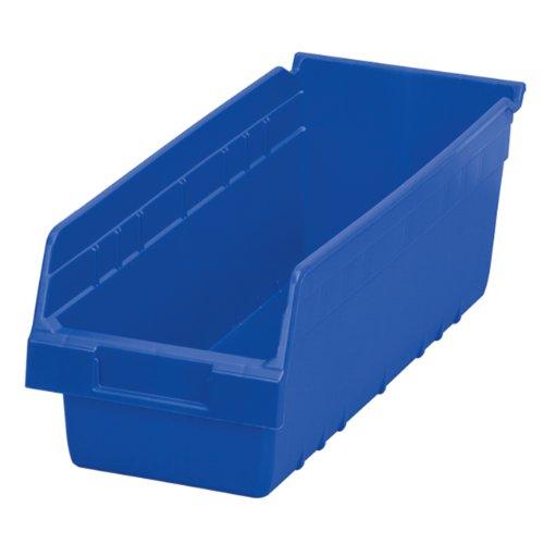 Akro-Mils 30098 ShelfMax Plastic Nesting Shelf Bin Box 18-Inch Length x 675 Inch Width x 6-Inch Height Case of 10 Blue