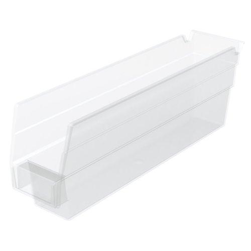 Akro-Mils 30110 12-Inch by 275-Inch by 4-Inch Clear Plastic Nesting Shelf Bin Box 24-Pack