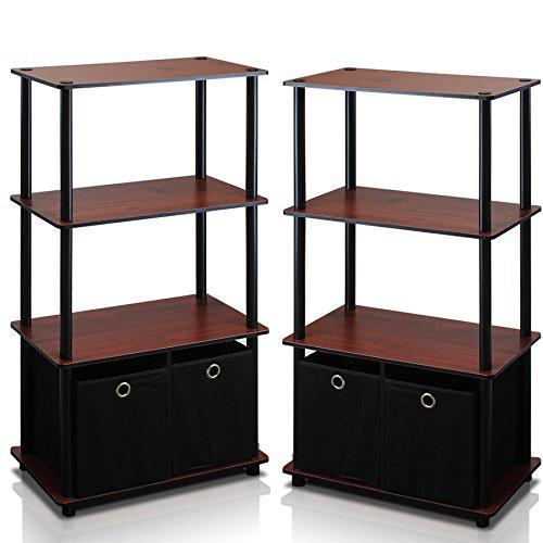 Furinno Go Green 4-Tier Multipurpose Storage Shelf with Bins Set of 2 Dark Cherry