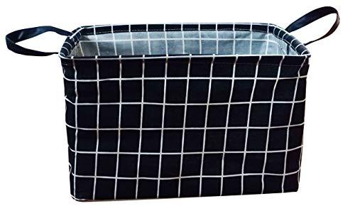 KUNRO Rectangular Canvas Storage Bin Waterproof Toy Organizer with Handles for Organizing Shelf Nursery Home ClosetKids Toy LaundryGift Baskets Black Lattice