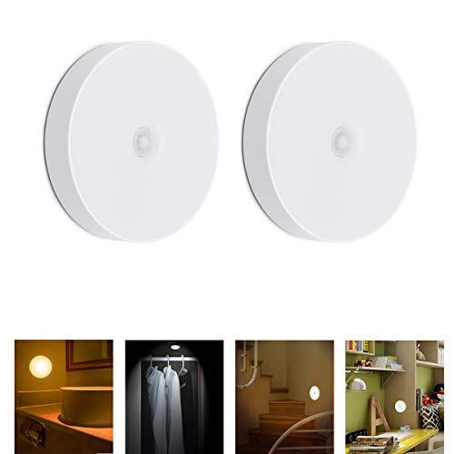 Motion Sensor Lithium Battery LED Night Light Smart Home Closet Light Rechargeable Motion Sensor Night Light Cordless Wall Light Warm Mood Lighting Wake up LightingTwo Induction Lamps
