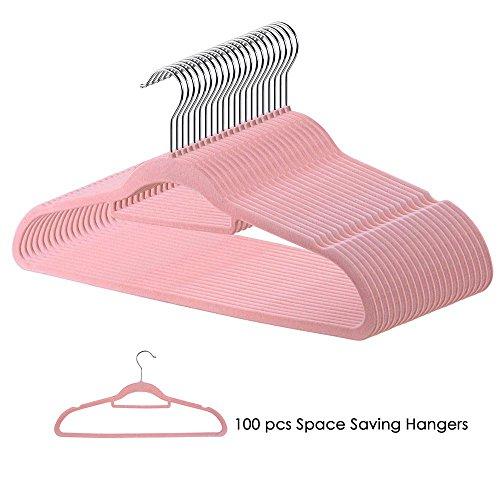 Yeshom 100Pcs Velvet Hanger Non Slip Clothes Suit Flocked Hangers Swivel Hook Ultra Thin Space Saving for Home Closet