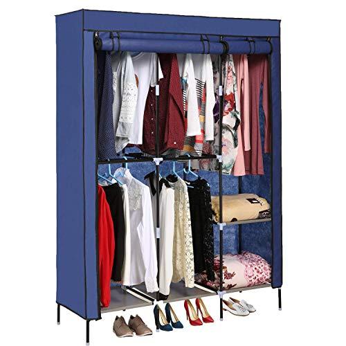Jaketen Portable Clothes Closet Non-Woven Fabric Wardrobe with Double Rod Shelves Freestanding Storage Organizer Wardrobe Blue Renewed