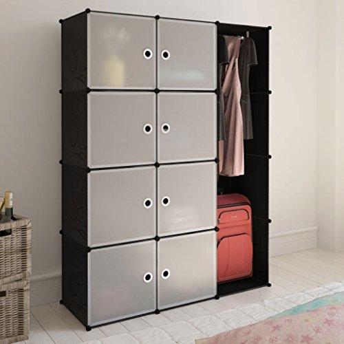 Nishore Portable Armoires Closet Storage Organizer Clothes Wardrobe Rack Shelves 8 Cube A7U7