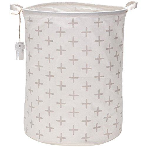 Sea Team 197 Large Sized Waterproof Coating Ramie Cotton Fabric Folding Laundry Hamper Bucket Cylindric Burlap Canvas Storage Basket with Stylish Grey Cross Design