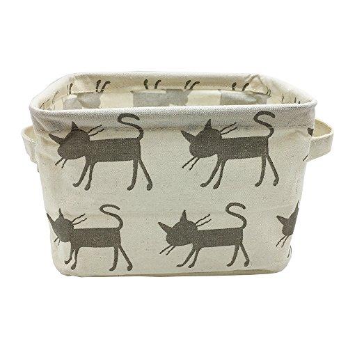 Small Foldable Canvas Storage Basket with Handles Cotton Linen Storage Bin Organizer for Nursery Kids Shelves Desks Grey Cat
