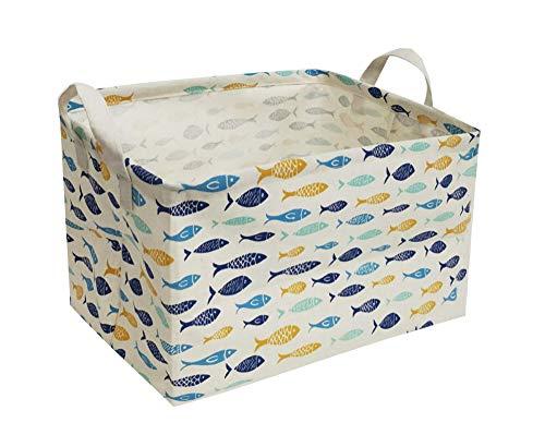 ESSME Rectangular Fabric Storage BoxCollapsible Storage Basket Bins Organizer with Handles for Kids RoomShelf BasketToy OrganizerFish