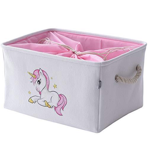 Inough Unicorn Storage Bins for kid Collapsible Storage Basket Toys Clothes Crafts OrganizerFabric Laundry Baskets Storage Bin with Handle for Organizing HomeNurseryKitchenClosetMedium Unicorn