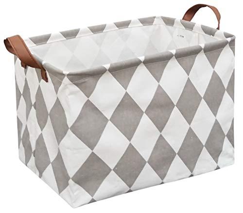 Sanjiaofen Rectangular Fabric Storage BinCollapsible Storage BasketWaterproof Coating Toy Organizer with HandlesGift Basket for HomeOfficeClothesToyShelf BasketRec-Rhombus
