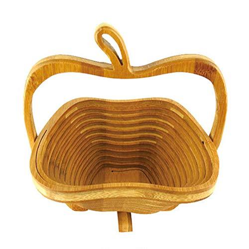 Beher Bamboo Folding Collapsible Fruit Basket Apple Design Fruit Bowl Fruit Display Rack Expandable Kitchen Decor Vegetable Storage Basket Holder