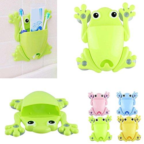 AMA TM Novelty Animal Toothbrush Toothpaste Holder Family Wall Bathroom Hanger Sucker Cup green